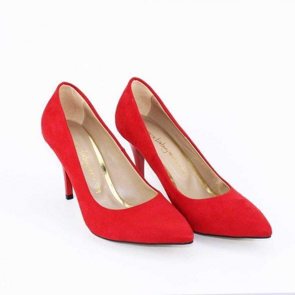 Kırmızı İnce Topuk Süet Stiletto