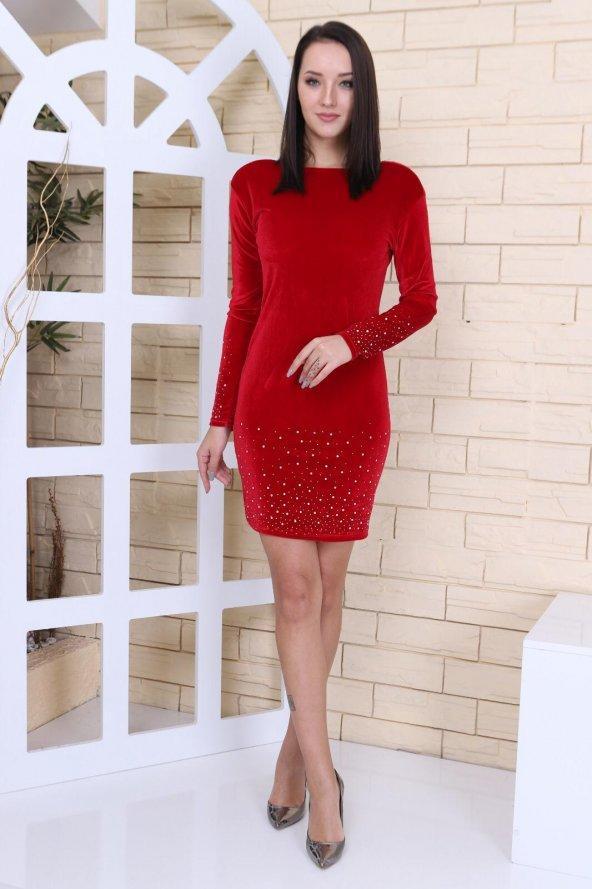 Pırıltı Detaylı Kırmızı Kadife Elbise