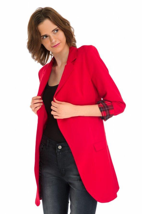 Ekoseli Fakir Kol Kırmızı Uzun Blazer Ceket