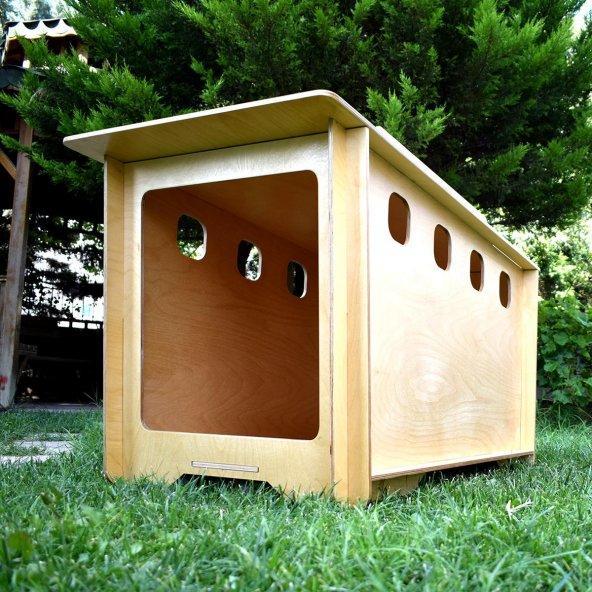 İndigo Ahşap Köpek Kulübesi Dış Mekan Medium