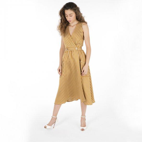 Sarı Beyaz Çizgili  Casual Elbise