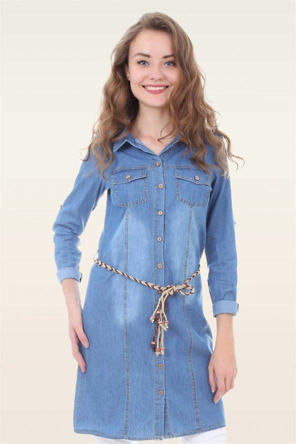 Boyfriend Açık Mavi Kot Elbise