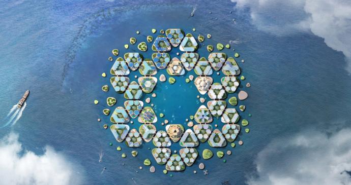 Oceanix City'nin fraktalik tasarımı.