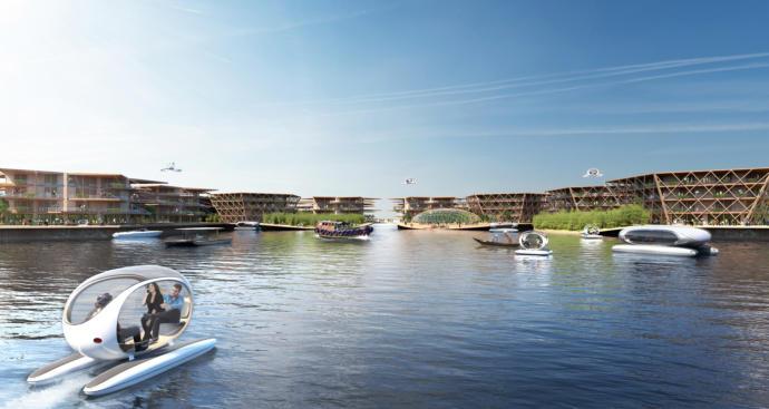 Oceanix City'den tasarımın görsellerinden biri daha..