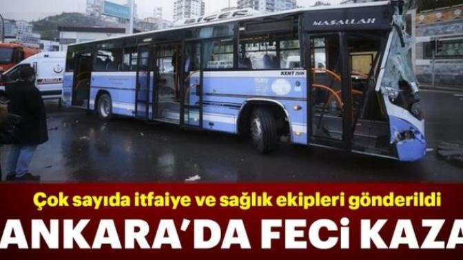Son dakika: Ankara'da halk otobüsü yol temizleme aracına çarptı.