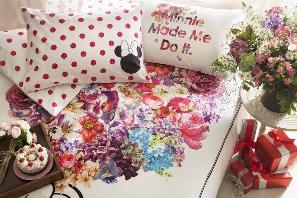 Anneler Günü Minnie Flowers Çift Kişilik Nevresim Takımı