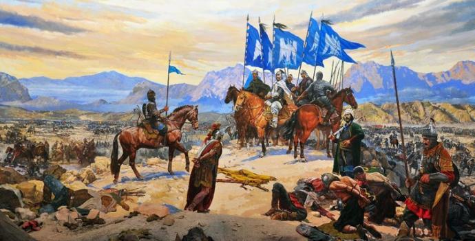 Esir Diyojen Alp Arslan'ın huzurunda