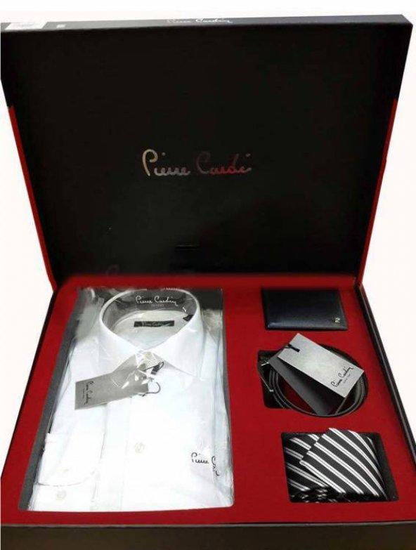 Pierre Cardin 4lü Gömlek Kemer Cüzdan Kravat Set