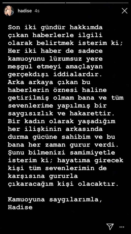 Hadise, Erhan Çelik ve Murat Gezer İle Aşk Yaşadığı İddialarına Instagram'dan Yanıt Verdi