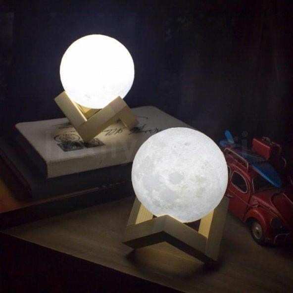 3 Boyutlu Tasarımlı Ay Gece Lambası