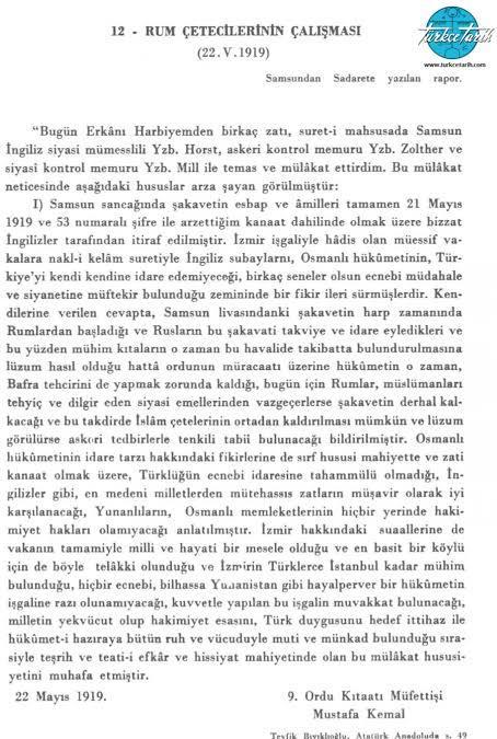 Samsun Raporu. (Kaynak: www.turkcetarih.com)