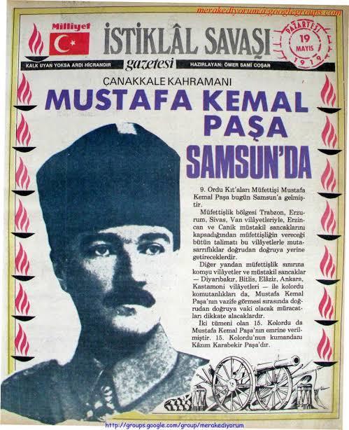 9. Ordu Müfettişliği, 19 Mayıs 1919'da Samsun'a vardı.