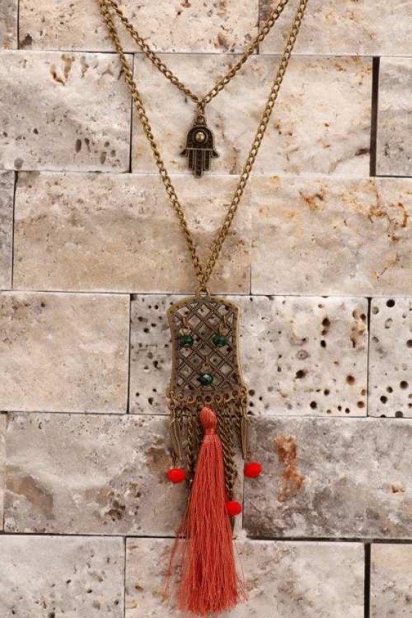 Eskitme Metal Zincir Kırmızı Püskül Detaylı Uzun Kolye