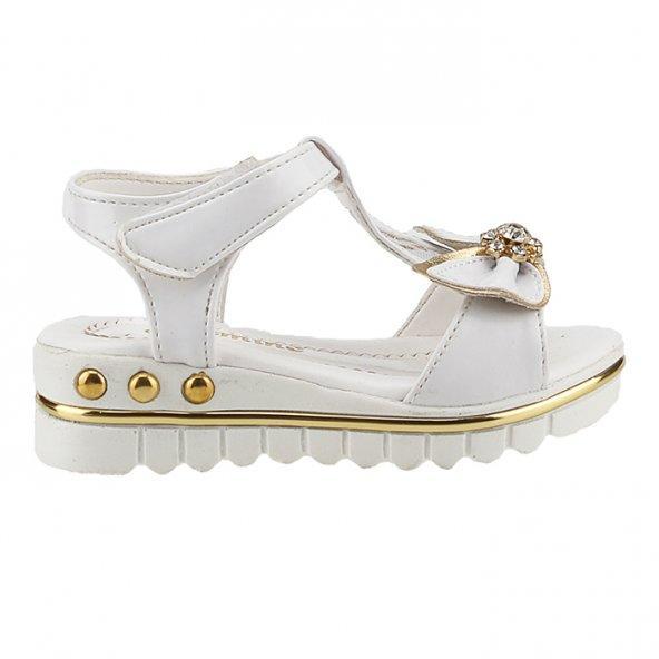 Jasmine 370 Beyaz Günlük Cırtlı Abiye Kız Çocuk Sandalet Ayakkabı