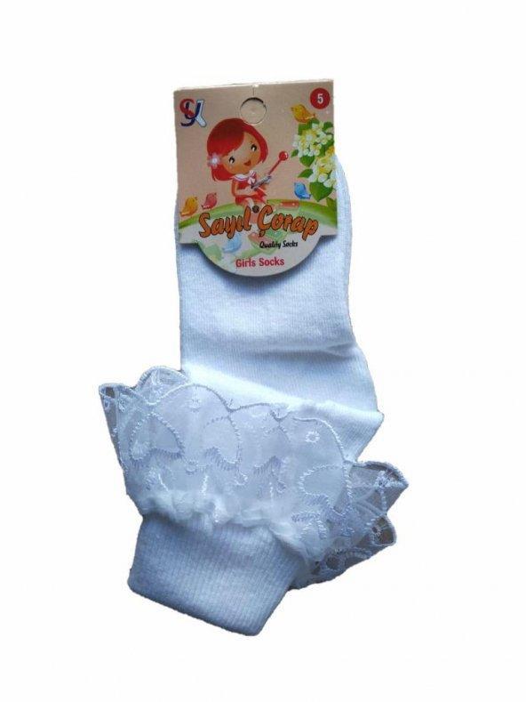 Sayıl Kız Çocuk Tüllü Beyaz Çorap Dantelli