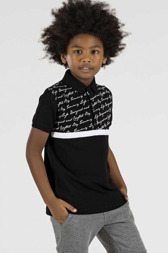 Tommy Life Yazı Detaylı Siyah Çocuk Polo Yaka Tshirt