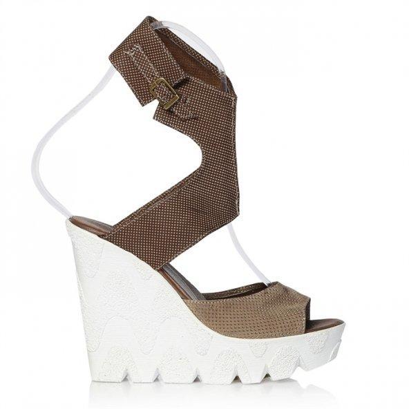 Topuklu Sandalet - Kahverengi