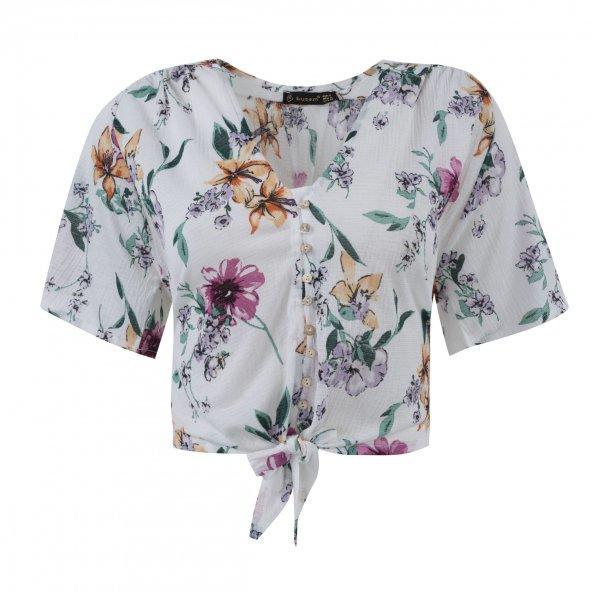 🌸Çiçek desenli bağlamalı kısa bluz