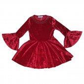 İspanyol kollu kırmızı kadife elbise