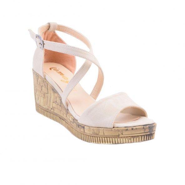 ✨Süet Çapraz Kemerli Dolgu Topuk Ayakkabı