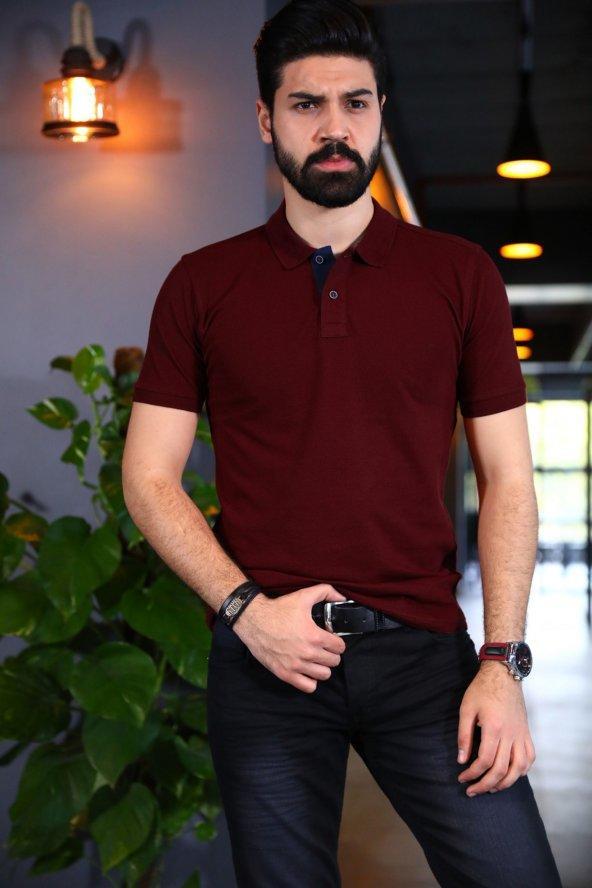 Bordo Polo Yaka Tshirt - Kısa Kollu Tişört - Basic T-shirt