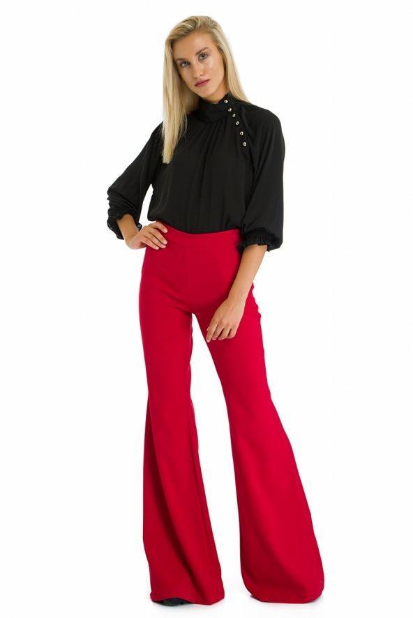 Kırmızı Yüksek Bel İspanyol Paça Pantolon
