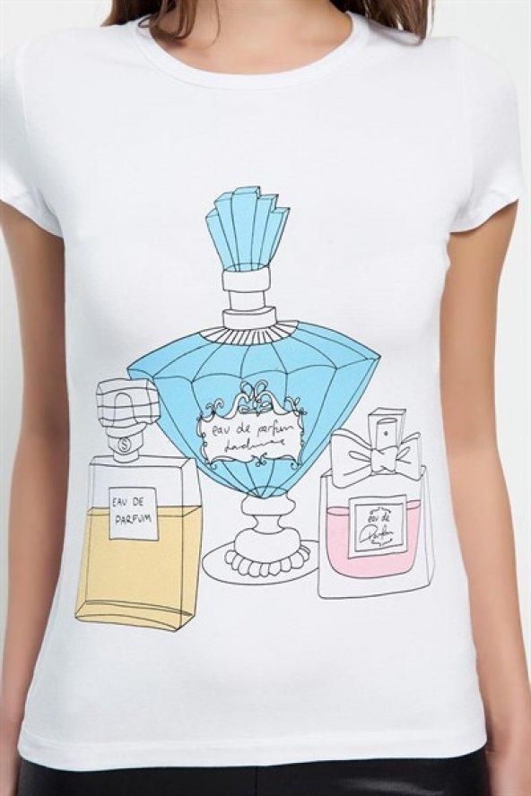 Parfüm Desenli Beyaz Bayan T-shirt