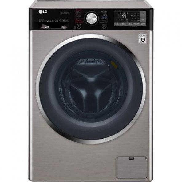 LG F4J9JHP2T Wi-Fi A+++ 1400 Devir Gri 10.5 kg / 7 kg Kurutmalı Çamaşır Makinesi