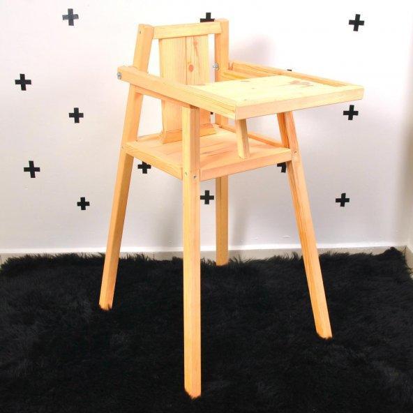 Ayaklı Bebek Mama Sandalyesi Doğal Ahşap Çam Ağacı