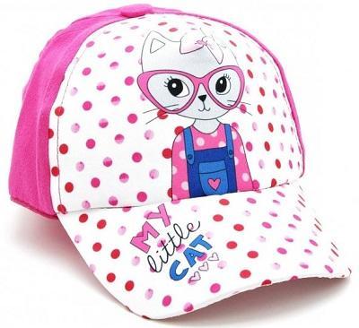 Pembe Kız Çocuk Bebek Şapka Gözlüklü Kedi 1-3 Yaş Yazlık