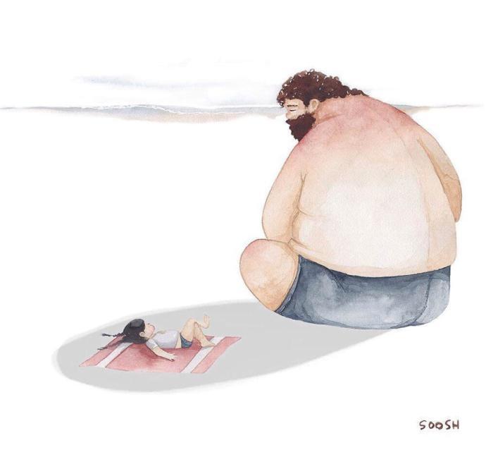 En Büyük Baba Benim Babam: Sanatçı Snezhana Soosh'un Baba Kız İlişkilerini Anlatan Muhteşem Çizimleri