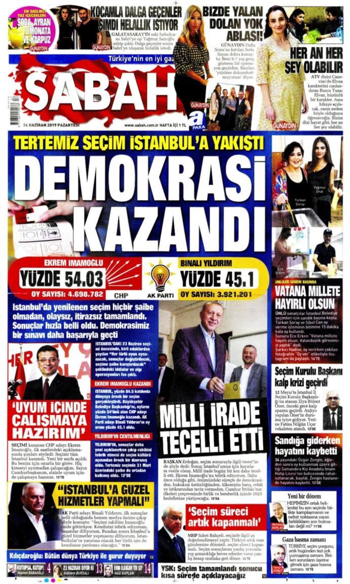 İmamoğlu'nun Başkan Seçilmesini Gazeteler Böyle Gördü (Foto Galeri)