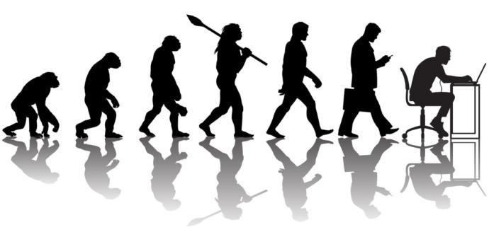 İnsanın evrimi ve günümüzde (en sağdaki) KS'ye giren insan (Temsili değil)