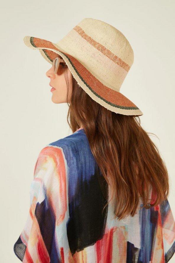 Turuncu Çizgili Hasır Şapka
