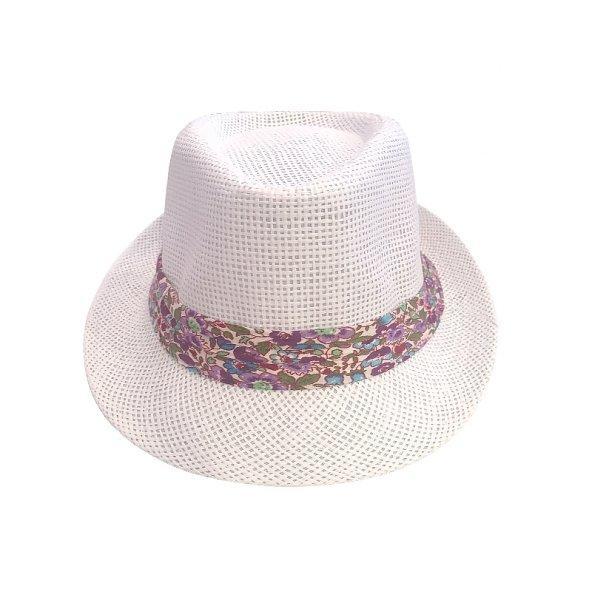 ☀ Krem rengi, beyaz çiçekli hasır şapka