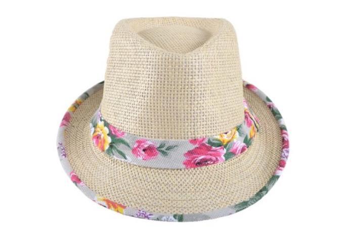 Çiçekli, Krem Rengi Hasır Şapka