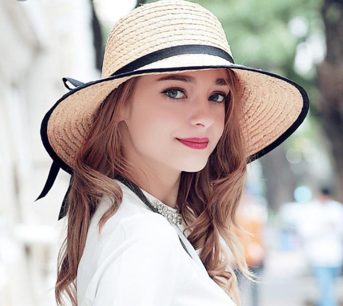 Kadın Hasır Şapka- Pudra