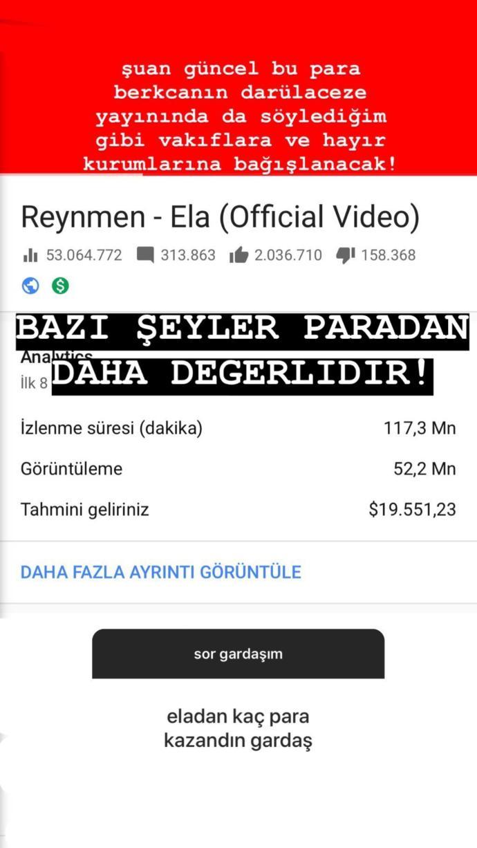 Reynmen, Rekor İzlenmeden Kaç Dolar Kazandığını Açıkladı (Ela)
