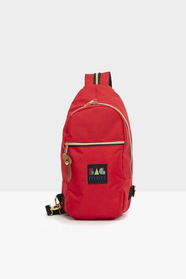Kırmızı Fermuar Çapraz Askılı Çanta