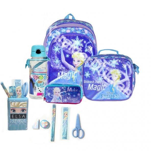 Frozen Elsa okul çantası, beslenme çantası, kalem kutusu, suluk, kalem, kalemtraş, silgi, makas, cetvel