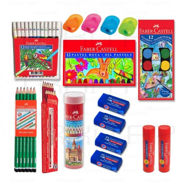 Faber Castell pastel boya, boya kalemleri, sulu boya, keçeli kalem, kurşun kalemler, kırmızı kalemler, silgi, kalemtraş, pritt yapıştırıcı