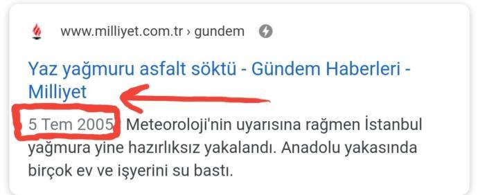 Milliyet'in 2005'e ait sel haberi.