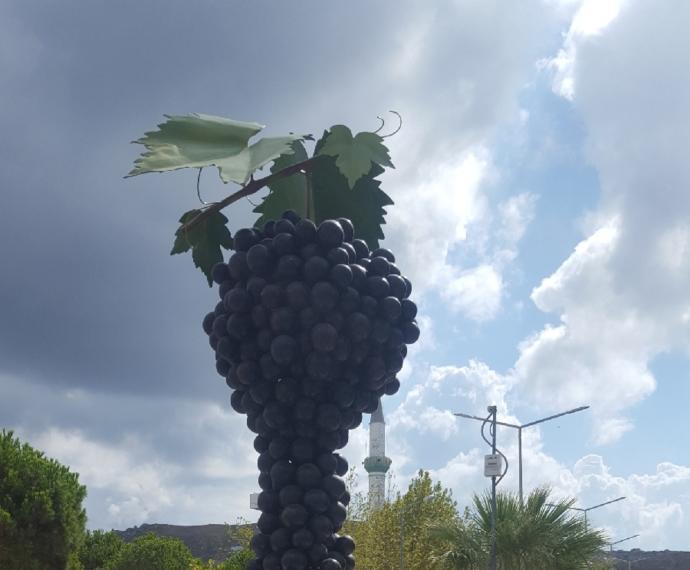Avşa merkezde gemiden inince sizi karşılayan üzüm heykeli.Burada yetişen kırmızı üzüm ile iyi sofra şarabın yapıldığı söyleniyor.