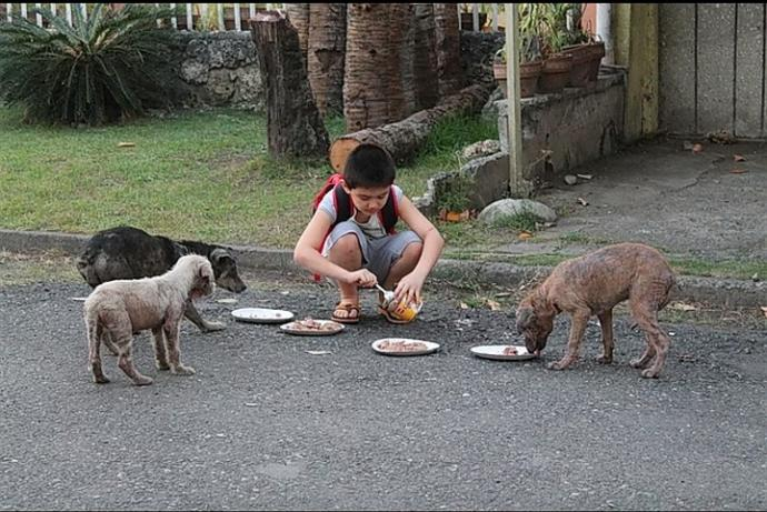 Bir çocuk düşünün kendi yemeyip hayvanları yediren