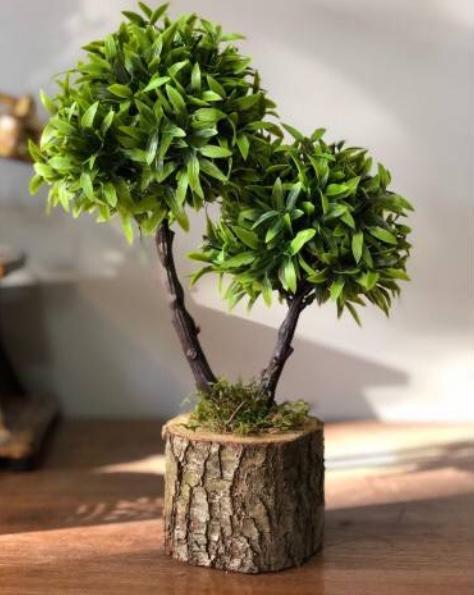 Kütük saksılı yapay ağaç