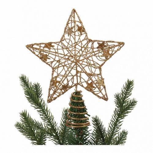 Yılbaşı Ağaç Tepesi Süsü 3D Yıldız Altın - Noel Ağacı Yıldızı