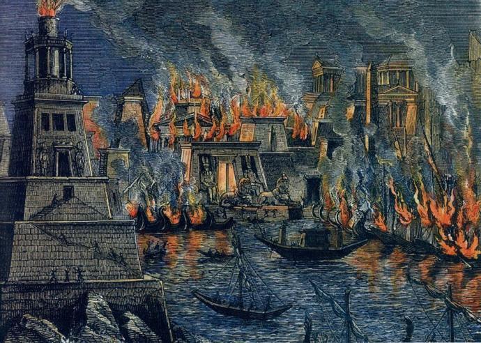 (İskenderiye Kütüphanesinin yanışını gösteren temsili bir tablo. Agora filmini de izlemeyenlere öneririm.)