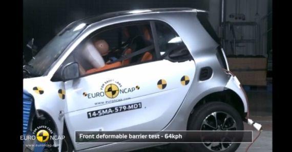Mikro otomobil Smart for two çarpışma testinden bir görüntü