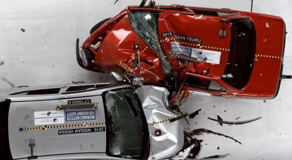 Global Ncap tarafından yapılan Nissan Versa-Nissan Tsuru çarpışma testi