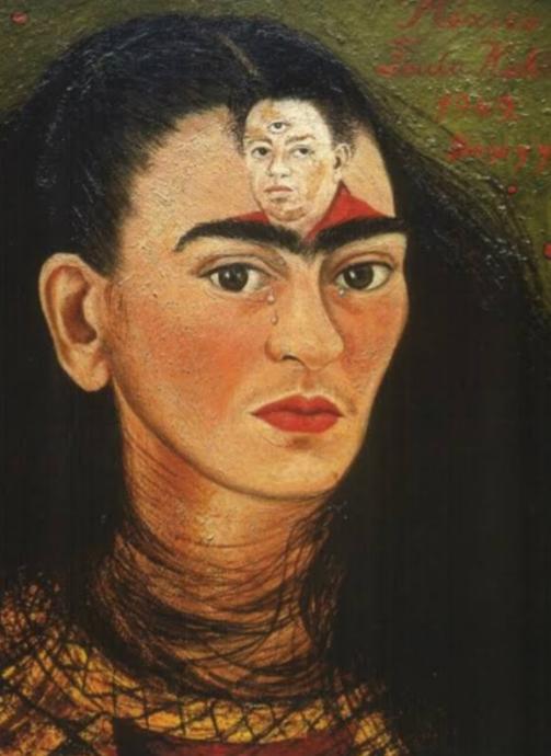 Burda Diegoyu; gözü dışarıda, başka kadınlarda olduğu için üç gözlü çizmiş Frida.